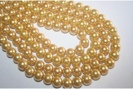 Perline Vetro Giallo Paglia Sfera 10mm - Filo 44pz