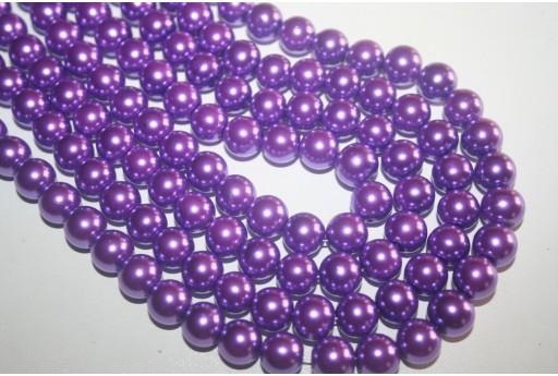 Perline Vetro Viola Sfera 10mm - Filo 44pz