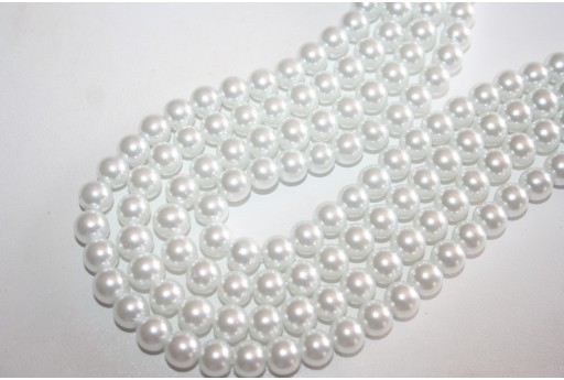 Perline Vetro Bianco Sfera 8mm - Filo 52pz