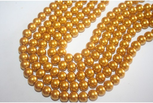 Glass Beads Golden Yellow Sphere 8mm - Filo 52pz