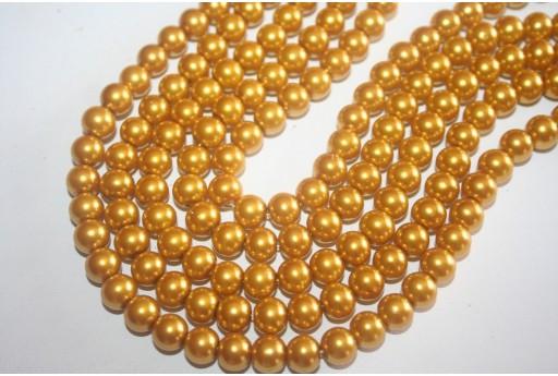 Perline Vetro Giallo Oro Sfera 8mm - Filo 52pz