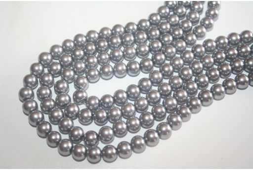 Glass Beads Silver Grey Sphere 8mm - Filo 52pz