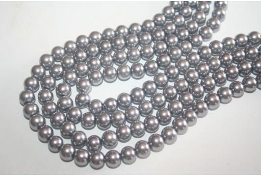 Perline Vetro Grigio Argento Sfera 8mm - Filo 52pz