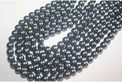 Glass Beads Dark Grey Sphere 8mm - Filo 52pz