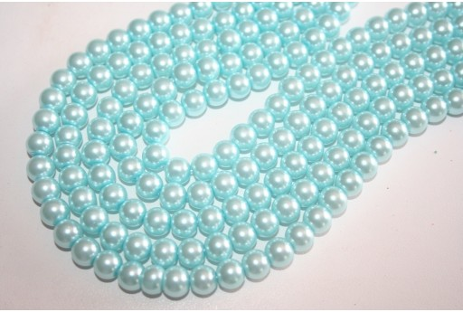 Perline Vetro Aquamarine Sfera 8mm - Filo 52pz
