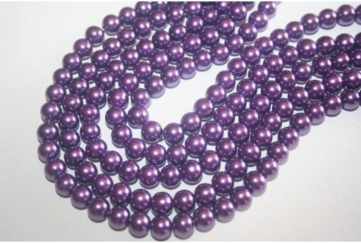 Perline Vetro Viola Sfera 8mm - Filo 52pz