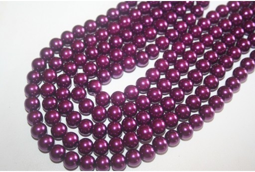 Perline Vetro Viola Scuro Sfera 8mm - Filo 52pz