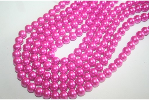 Perline Vetro Rosa Shocking Sfera 8mm - Filo 52pz
