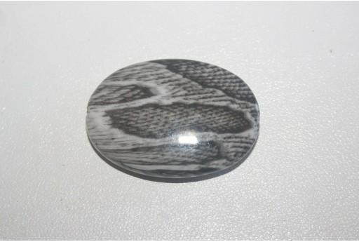 Acrylic Beads Grey Oval 35x25mm - 4Pz