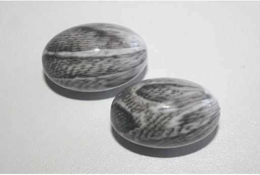 Acrylic Beads Grey Olive 25x19mm - 5Pz