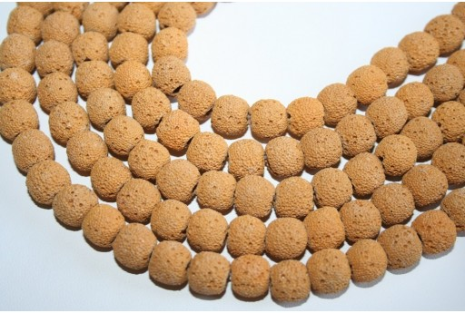 Lava Rock Beads Ochre Yellow Sphere 10mm - 42pz