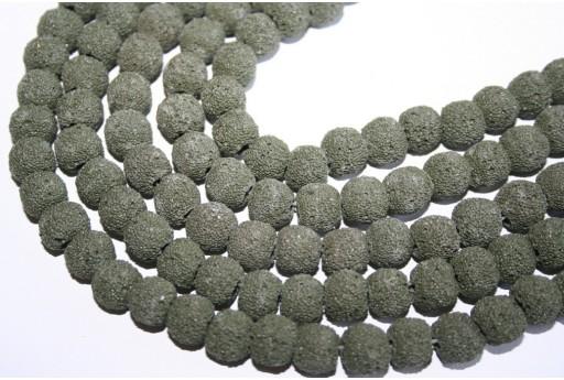 Filo 42 Pietre Lava Verde Scuro Sfera 10mm LAV41