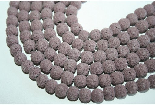 Lava Rock Beads Violet Sphere 10mm - 42pz