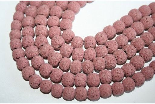 Lava Rock Beads Pink Sphere 10mm - 42pz