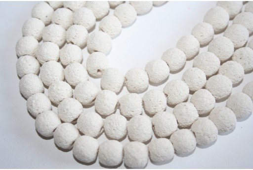 Lava Rock Beads White Sphere 12mm - 34pz
