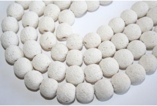 Lava Rock Beads White Sphere 14mm - 4pz