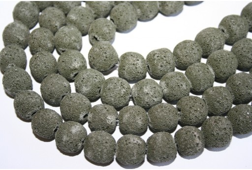 Lava Rock Beads Dark Green Sphere 14mm - 3pz