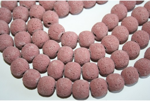 Lava Rock Beads Pink Sphere 14mm - 28pz