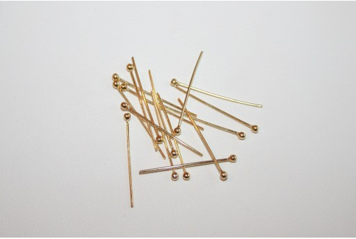 Gold Plated 925 Sterling Silver Ball Head Pin 20x0,60mm AR50