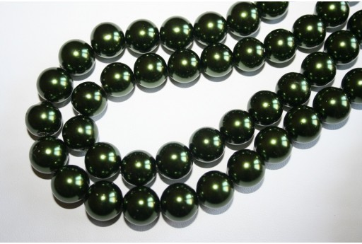 Glass Beads Dark Green Sphere 14mm - Filo 30pz