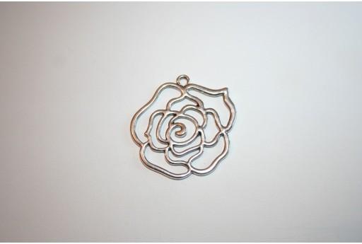Pendente Argento Tibetano Rosa 44x41mm
