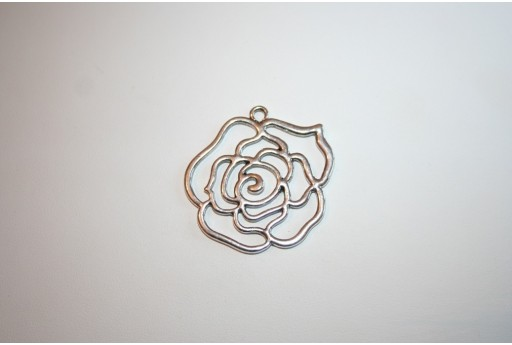 Tibetan Silver Rose Flower Pendant 44x41mm