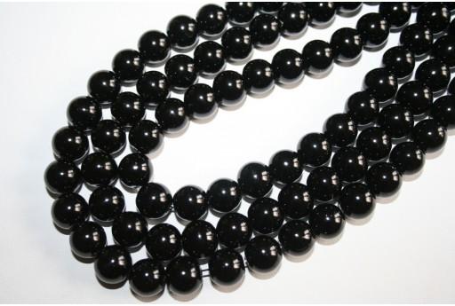 Perline Vetro Nero Sfera 12mm - Filo 34pz