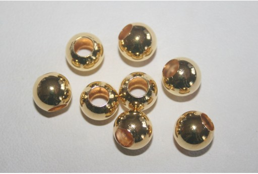 Gold Plated Round Spacer Beads 8mm - 12pcs