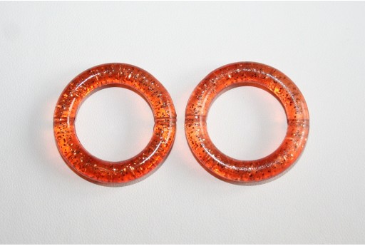 Perline Acrilico Glitter Topazio Cerchio 34mm - 5Pz