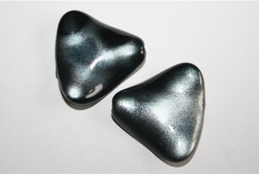 Perline Acrilico Nero Argento Triangolo Ondulato 24x26mm - 8Pz