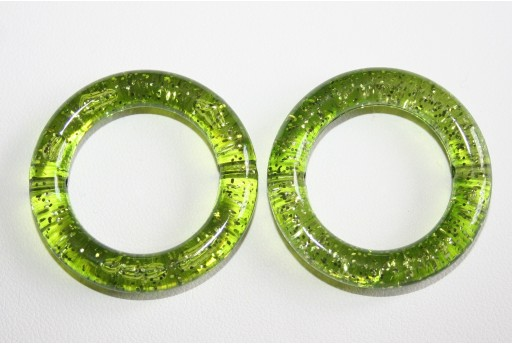 Acrylic Beads Glitter Green Circle 34mm - 5Pz