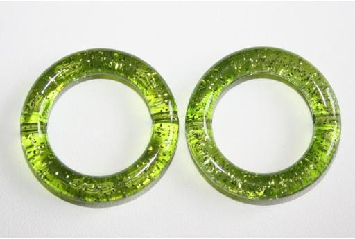 Perline Acrilico Glitter Verde Cerchio 34mm - 5Pz