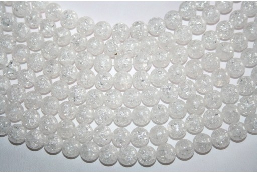 Cracked Rock Crystal Beads Sphere 8mm - 7pz