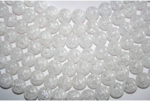 Cracked Rock Crystal Beads Sphere 10mm - 38pz