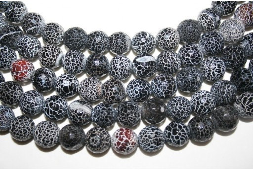 Fire Agate Beads Black Faceted Sphere 14mm - 2pz