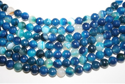 Agate Beads Veined Blue Faceted Sphere 8mm - 46pcs