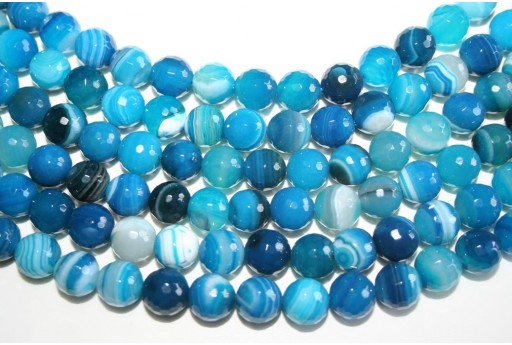Agate Beads Veined Blue Faceted Sphere 10mm - 4pcs