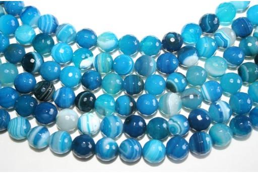 Pietre Agata Striata Blue Sfera Sfaccettata 10mm - 4pz