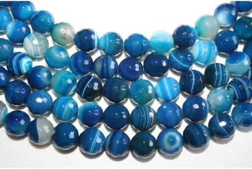 Agate Beads Veined Blue Faceted Sphere 12mm - 32pz