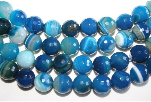 Agate Beads Veined Blue Faceted Sphere 14mm - 28pz