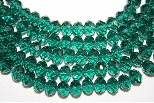 Chinese Crystal Beads Faceted Rondelle Green 8mm - 70pz