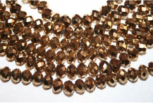 Chinese Crystal Beads Faceted Rondelle Gold 8mm - 70pz
