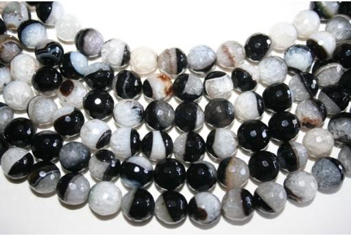 Agate Beads Quartz White Black Faceted Sphere 12mm - 32pz