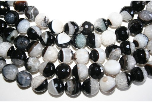Agate Beads Quartz White Black Faceted Sphere 14mm - 28pz