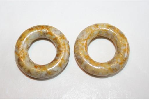Acrylic Beads Yellow Gold Circle 25mm - 10pz