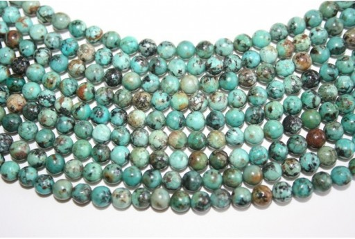 African Turquoise Round Bead Strand 6mm 64pcs TUR4