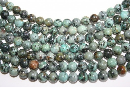 African Turquoise Round Bead Strand 8mm 48pcs TUR5