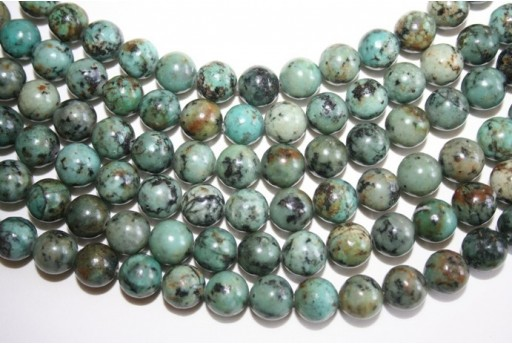 African Turquoise Round Beads 10mm - 2pcs