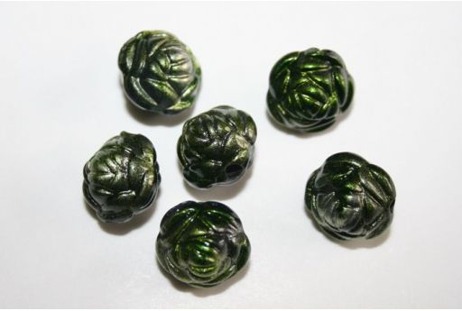 Acrylic Beads Silver Green Rose 13x11mm - 14pz