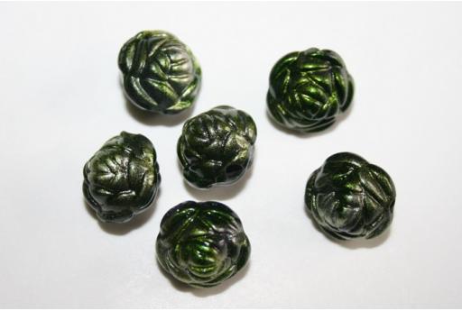 Perline Acrilico Verde Argento Rosellina 13x11mm - 14pz